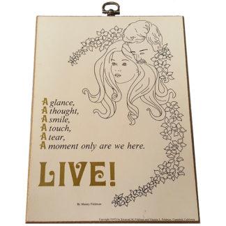 Live by Manny Feldman Textual Art Wood Plaque