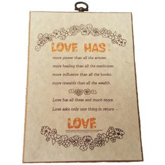 Love Has by Emanuel Feldman Textual Art Wood Plaque