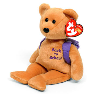TY Beanie Baby - Books the Bear (Purple Backpack Version)