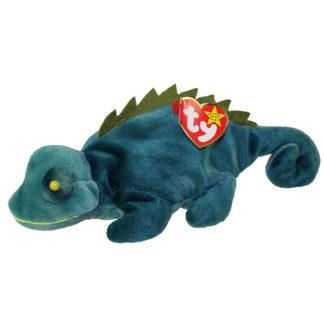 TY Beanie Baby - Iggy the Iguana (dark fabric w/ spikes) (9.5 inch)