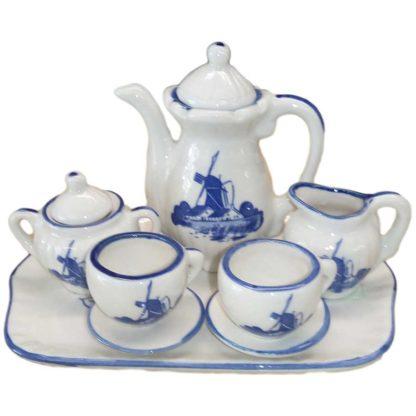 Miniature Delft Blue Windmill Design 10 PC Teapot Set
