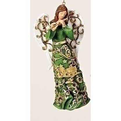 Gold Paper Cut Angel Ornament w/Flute
