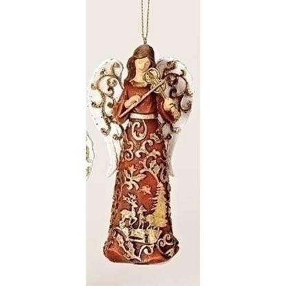 Gold Paper Cut Angel Ornament w/Violin