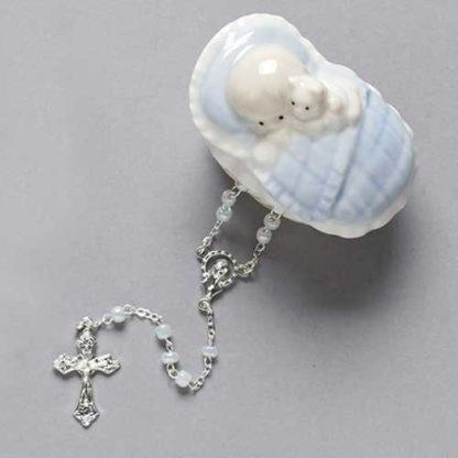 Rosary in Blue Porcelain Keepsake Box for Baby Boy