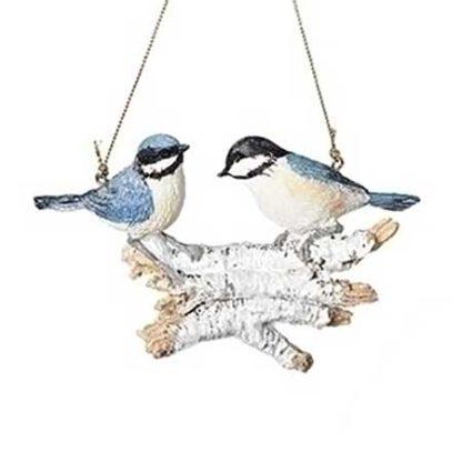 Xmas Ornament Blue Birds On Logs