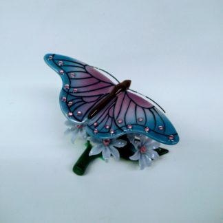 Butterfly on flowers figurine - back