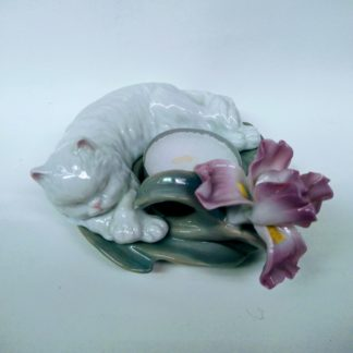 Porcelain Cat Tea Light Candle Base -- from top, side