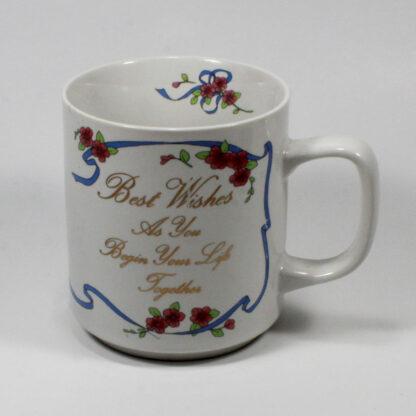 "Novelty Mug, ""Best Wishes as you Begin..."" Doves, Wedding Bells, Gold script. ENESCO"