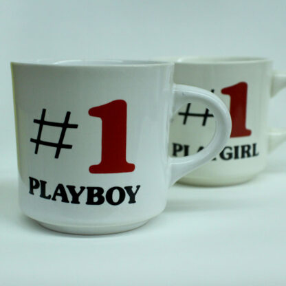 """Novelty white diner style mug that says """"#1 PLAYBOY"""" in black and red type."""